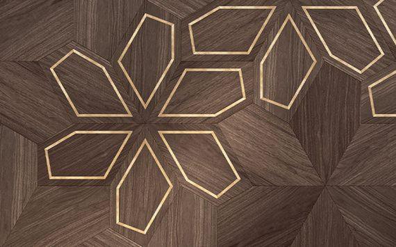 Azalea modular geometric wood floor. Design Panels.