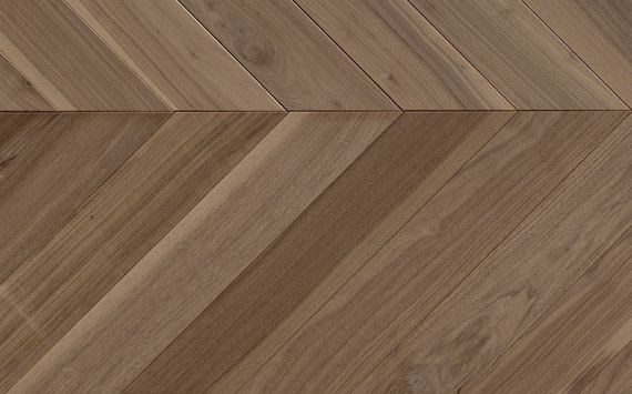 Chevron 45° wood floor in American Walnut: brushed, stained, varnished.